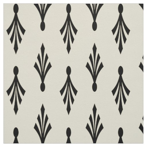 Palm Fronds Pattern black on ecru Fabric
