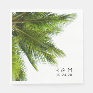 Palm Fronds Wedding Personalized Napkins Paper Napkin