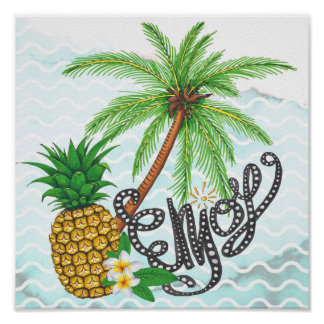 Palm Hand Painted Pineapple Illustration Enjoy Poster