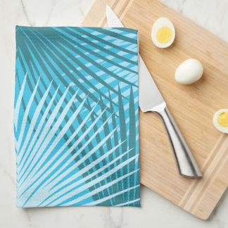 Palm Leaf Abstract Aqua Art Towel