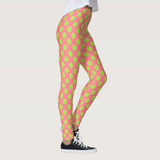 Palm Leaf Green Polka Dots on Coral Pink Leggings