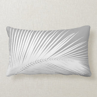 Palm leaf - grey and white lumbar pillow
