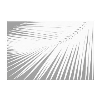 Palm leaf - Grey / Gray and White Canvas Print