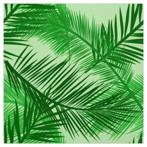 Palm Leaf Print, Emerald and Light Lime Green