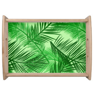 Palm Leaf Print, Emerald and Light Lime Green Serving Tray