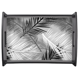 Palm Leaf Print, Grey / Gray, Black and White Serving Tray