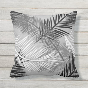 Palm Leaf Print, Grey / Grey, Black and White Outdoor Cushion