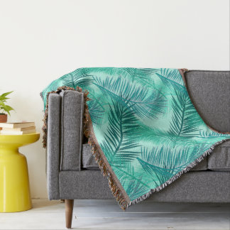 Palm Leaf Print, Turquoise, Teal and Light Aqua Throw Blanket