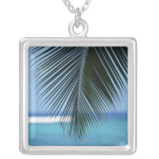 Palm leaf silver plated necklace