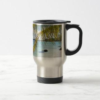 palm leaf stainless steel travel mug