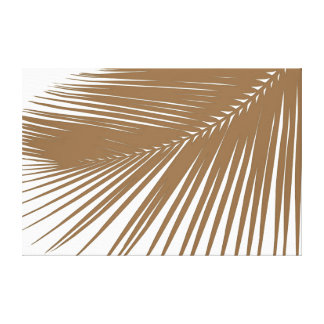 Palm leaf - taupe on white canvas print