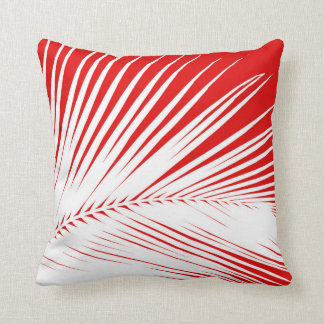 Palm leaf - white and dark coral red cushion