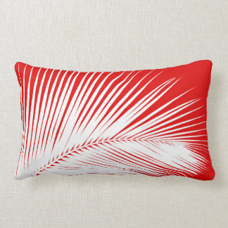 Palm leaf - white and dark coral red lumbar pillow