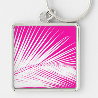 Palm leaf - white on fuchsia pink Silver-Colored square key ring