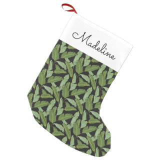 Palm Leaves   Add Your Name Small Christmas Stocking