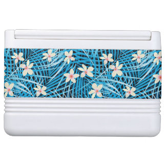 Palm Leaves Blue Pattern Igloo Cooler
