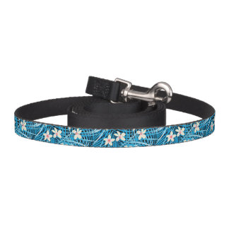 Palm Leaves Blue Pattern Pet Leash
