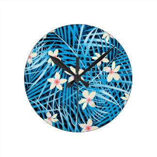 Palm Leaves Blue Pattern Round Clock