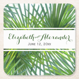 Palm Leaves Green Names and Date Wedding Coaster