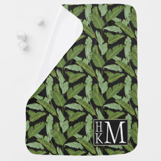 Palm Leaves | Monogram Baby Blanket