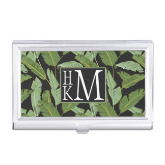 Palm Leaves | Monogram Business Card Holder