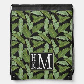 Palm Leaves | Monogram Drawstring Bag