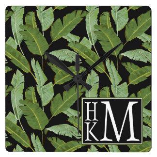 Palm Leaves | Monogram Square Wall Clock