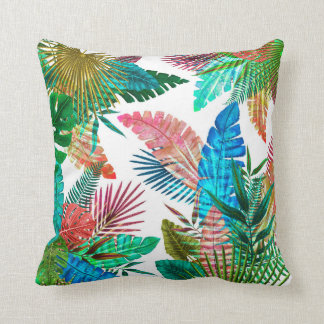 Palm Leaves on White Background Cushion