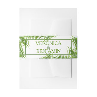 Palm Leaves Tropical Beach Wedding Invitation Belly Band