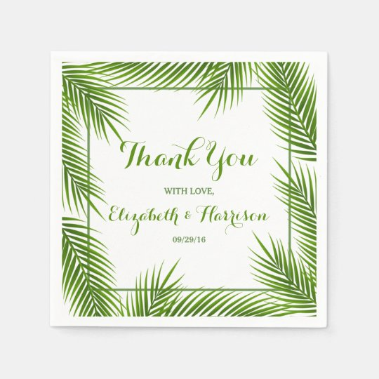 Palm Leaves Tropical Beach Wedding Paper Napkin