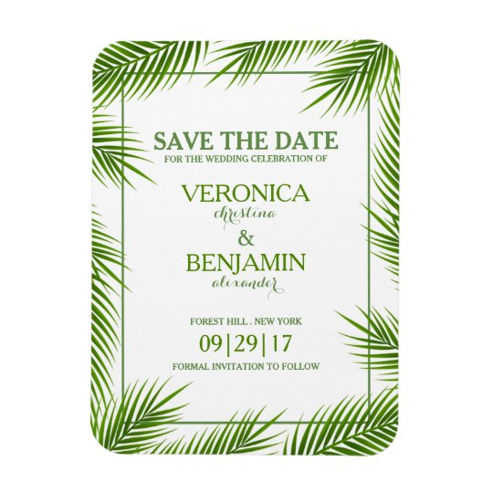 Palm Leaves Tropical Beach Wedding Save The Date