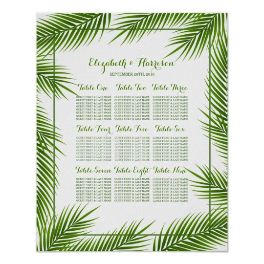Palm Leaves Tropical Beach Wedding Seating Chart Poster