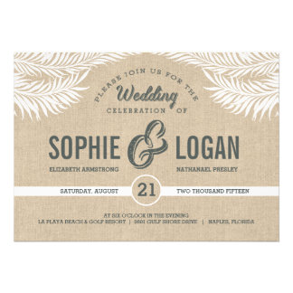 Palm Leaves Wedding Invitations Personalized Invitation