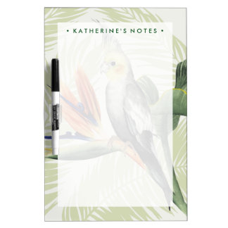 Palm Leaves With Black Bird Dry Erase Board