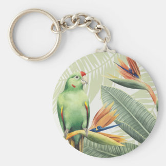 Palm Leaves With Green Bird Key Ring