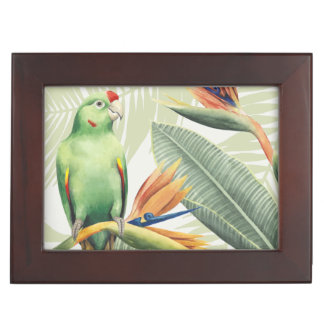 Palm Leaves With Green Bird Memory Box