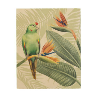 Palm Leaves With Green Bird Wood Print