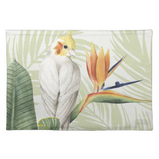 Palm Leaves With White Bird Placemat