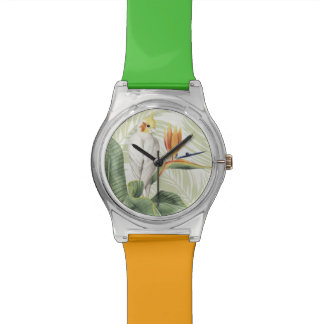 Palm Leaves With White Bird Wristwatch