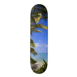 Palm lined beach Cook Islands 2 Skateboard Deck