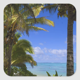 Palm lined beach Cook Islands 2 Square Stickers