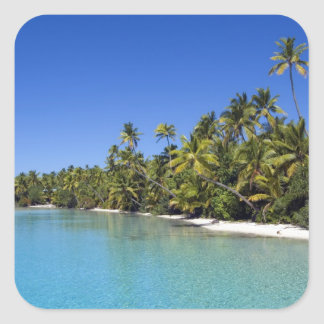 Palm lined beach Cook Islands 2 Stickers