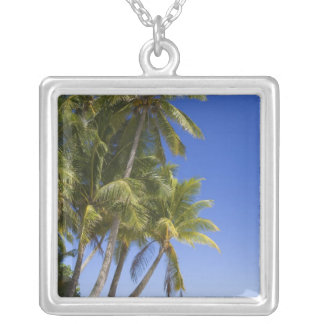Palm lined beach Cook Islands 3 Silver Plated Necklace