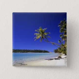 Palm lined beach Cook Islands 5 15 Cm Square Badge
