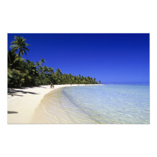 Palm lined beach Cook Islands 5 Photographic Print
