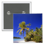 Palm lined beach Cook Islands 7 15 Cm Square Badge