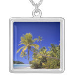 Palm lined beach Cook Islands 7 Square Pendant Necklace