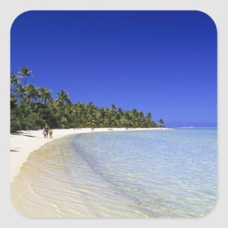 Palm lined beach Cook Islands 8 Square Sticker