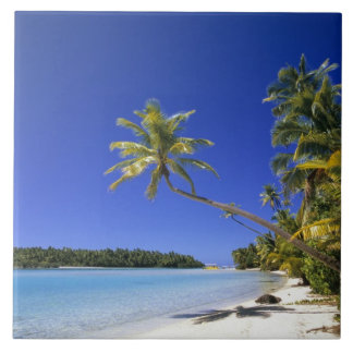 Palm lined beach Cook Islands Large Square Tile