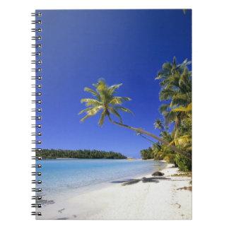 Palm lined beach Cook Islands Notebook